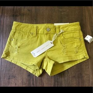 NWT‼️ Almost Famous Mustard Yellow Jean Shorts